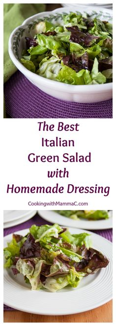 This is The Best Italian Green Salad with Homemade Dressing! It's simple, vegan, gluten free and the most requested recipe when we have friends over for dinner!