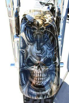 (Airbrushed Motorcycle Fat Boy w/ H. Custom Paint Motorcycle, Motorcycle Tank, Custom Motorcycles, Custom Bikes, Skull Painting, Air Brush Painting, Car Painting, Airbrush Art, Pinstriping