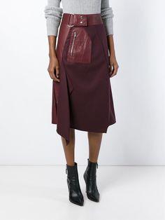 3.1 Phillip Lim | Crimson Lambskin and Wool Flight Detail Skirt - O' - Farfetch.com