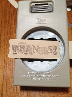 """By Jamie AR Albanese. Using the Stampin' Up """"Decorative Label"""" punch to create a smaller decorative sentiment label."""
