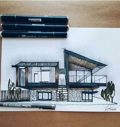 --- Silver House visualized by Hyde + Hyde Studio Architects, Peninsula . Interior Architecture Drawing, Architect Sketchbook, Architecture Drawing Sketchbooks, Architecture Concept Drawings, Architect Drawing, Interior Design Sketches, Architecture Magazines, Architecture Design, Architecture Definition