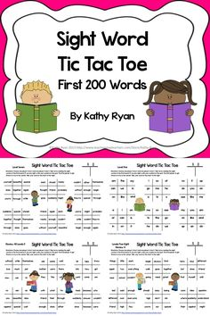 Need a fun activity to help students review their sight words? Try Sight Word Tic Tac Toe: 18 different sheets, with 6 game boards on page. The first 200 sight words are broken into 8 lists. Each list has one page dedicated to it. Then there are 10 review sheets that combine lists to give students even more practice.     Easily differentiated so all students can benefit! Can be used as a center, homework, free time activity, word work, or indoor recess game. Your students will LOVE it!