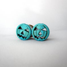 """Pair of Turquoise Jack-O-Lantern Plugs - Halloween Gauges - Pumpkin Tunnels - 0g, 00g, 7/16"""", 1/2"""", 9/16"""" (8mm, 10mm, 11mm, 12mm, 14mm) by WhimsyByKrista on Etsy"""
