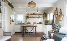 a tiny rustic cottage with natural, boho accents