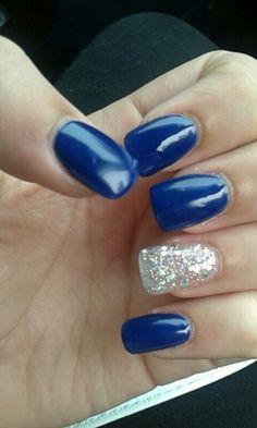 Royal blue and silver acrylic nails
