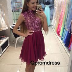 Cute high neck burgundy chiffon prom dress with sparkly sequins top, homecoming…