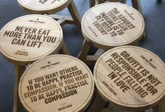 Robin Howie designed a series of Thinker Stools for the London suburb's Food for Thought cafe.
