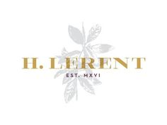 H. Lerent Fashion Boutique - Logo, Typography and Brand Design Inspiration - Mustard, Gold, Yellow - Heavy Serif Font - Grey Plant Illustration