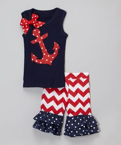 Beary Basics Navy Anchor Tank & Red Ruffle Shorts - Infant, Toddler & Girls by Beary Basics #zulily #zulilyfinds
