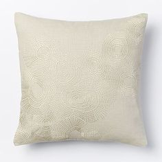 Embroidered Wavelet Pillow Cover - Stone #westelm Living Room