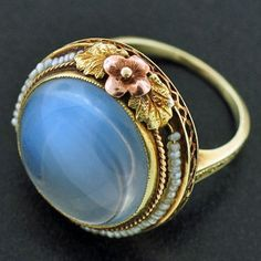 Art Nouveau 14kt Pearl & Large Cabochon Moonstone Vintage Ring, c1915 (from 1915)