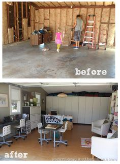 BEFORE & AFTER: converting our garage into an office/playroom