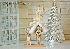 Świąteczna Figurka Drewniany Renifer