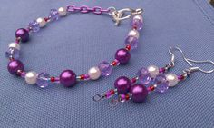 Bead earring and wire bracelet set by DoubleDzBeadz on Etsy, $5.00