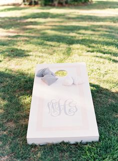 pretty monogrammed cornhole boards   Landon Jacob #wedding