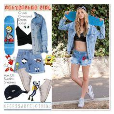"""skateborad girl"" by paculi ❤ liked on Polyvore featuring Paul & Joe Sister, NIKE, Disney, denim, jacket and sneakers"