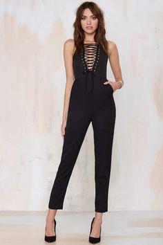 Lavish Alice Drop It Down Lace-Up Jumpsuit - Rompers + Jumpsuits