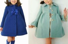 Patrón abrigo para niña Fashion Kids, Baby Dress Patterns, Kids Coats, Pants Pattern, Baby Girl Dresses, Knit Dress, Kids Outfits, Clothes, Seersucker