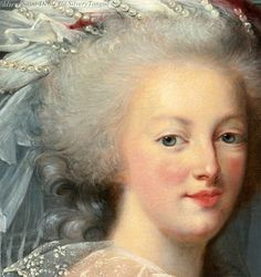 Detail from a portrait of Marie Antoinette from the studio of Elisabeth Vigee-Lebrun, circa the 1780s.
