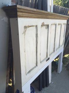 King Size 5 Panel Vintage Door Headboard With Oak Crown Molding Shelf By Vintage  Headboards 972.668