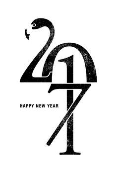 年賀状2017 No.17: Flamingo 2017 | 2017年賀状デザイン・ポストカードデザイン- INDIVIDUAL LOCKER
