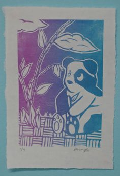 Panda Print Color Blend Relief Printmaking by PolychromePenguin