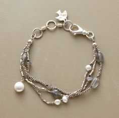 """Love the Sundance Gift Store! And bracelets....semi precious stones, sterling, lampwork, all!    Handcrafted tri-strand bracelet is a lyrical combination of moonstone, labradorite, cultured freshwater pearls and coin pearls set against faceted sterling silver beads. Lobster clasp. Made in USA. Exclusive. 7-1/2""""L."""