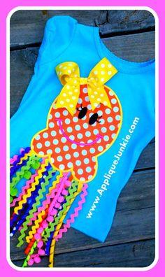 Jellyfish Girl Machine Applique Design. $4.00, via Etsy.