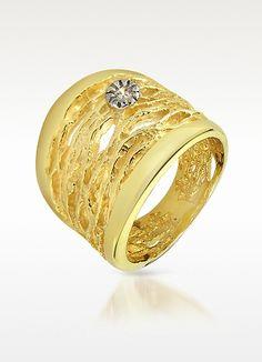 Orlando Orlandini Diamond Open-work 18K Yellow Gold Band Ring