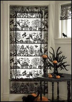 Spooktacular Black Lace Curtain Panel Haunted Mansions Witches Halloween