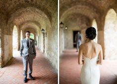 Front of groom and back of bride for first look photo @myweddingdotcom