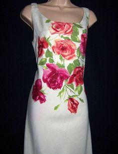 138c61f639 Laura Ashley Vintage Poster Printed Linen   Silk Full Length Lined Dress UK  12