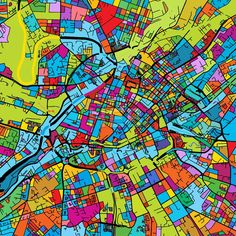Manchaster, England, Colorful Vector Map on Black by Hebstreits #stockimage #design #map #colorful #vector