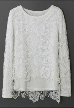 White Full Crochet Overlay Top ......Simple and pretty .....