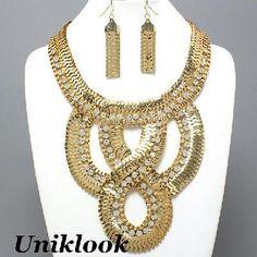 RUNWAY Jewelry Uniklook Gold Wide Link Modern Design Crystal Bib Statement Necklace Earrings Set