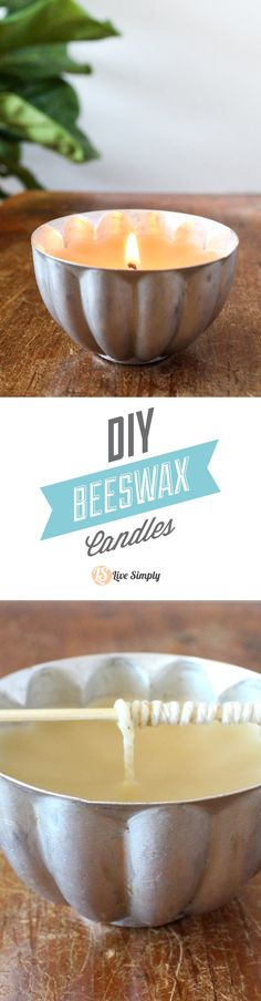 A super easy tutorial that shows you how to make your own homemade beeswax candles. Fancy equipment isn't needed to make these homemade beeswax candles. Plus, they help clean the air in your home. Add essential oils for a beautiful custom scent. The perfect way to naturally-scent your home. http://livesimply.me/2015/03/26/easy-diy-beeswax-candles/