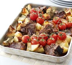 This one-pan lamb chops supper only requires some quick assembling - pack in the Mediterranean flavours then let the oven do the work Best Lamb Recipes, Lamb Chop Recipes, Bbc Good Food Recipes, Meat Recipes, Cooking Recipes, Healthy Recipes, Beef Recepies, Game Recipes, Yummy Recipes
