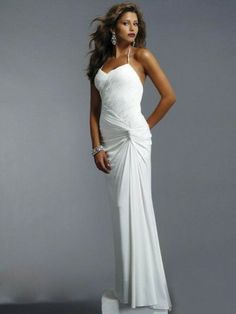 Sheath/Column Halter Ruffles Sleeveless Floor-length Chiffon Prom Dresses/Evening Dresses