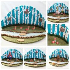 Birch Forest Playscape Play Mat felt pretend storytelling fantasy fairytale storybook open-ended fairy woodland mushroom turquoise blue set by MyBigWorld2015 on Etsy