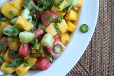 For a sweet and salty take on fruit salad, try this cucumber, watermelon, and mango salad that offers just ...