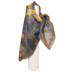 HANDPAINTED stars SILK SCARF, Pure Square women silk scarve, Painted black silk shawl with orange flowers, Unique birthday gift for wife Painted Silk, Hand Painted, Silk Painting, Stars, Trending Outfits, Unique Jewelry, Handmade Gifts, Accessories, Etsy