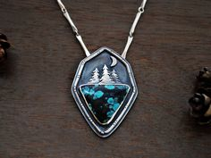 Night+Owl++Turquoise+Moon+and+Pines++Boho+Nature+by+GatherAndFlow