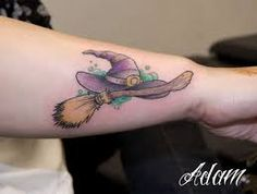 Image result for tattoo witch broom and hat