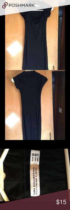 Gorgeous Zara black midi dress This Zara dress is in great condition! It's a slim, curve-hugging fit. The material is soft and lightweight. The tag says medium. Zara Dresses Midi