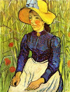 Young Peasant Girl in a Straw Hat sitting in front of a wheatfield - Vincent van Gogh