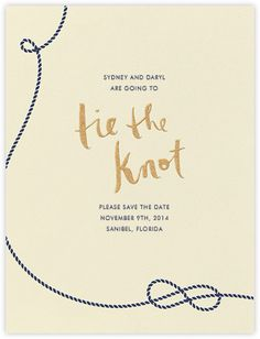Navy rope, gold letters. Nautical (Save the Date) - Paperless Post