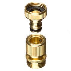 Nice GORILLA EASY CONNECT 3/4u201d NPT Brass Quick Connect Garden Hose Fitting 2pc  Set