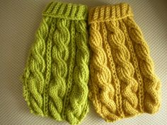 bychancedesigns Chunky Cable Knit doggie sweaters in lime & lemon.