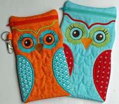 Owl Cases - large - tutorial LOVE the colors and design:)