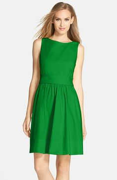 Eliza+J+Open+Back+Tie+Waist+Stretch+Cotton+Fit+&+Flare+Dress+(Regular+&+Petite)+available+at+#Nordstrom